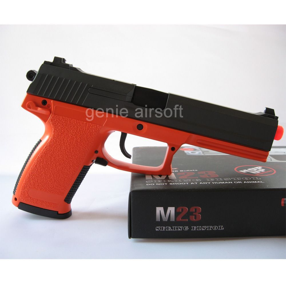 Double Eagle MK23 Orange Airsoft BB gun with Silencer